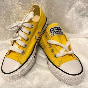 Opoee Kids Yellow Canvas Lace Up Sneakers EU 32